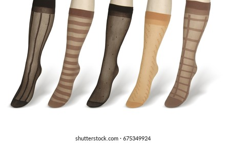 women's mannequins legs in colored pantyhose