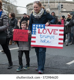 Women's March, Dublin, Ireland. January 21st 2017. A few thousand people take part in an Anti Trump march through the streets of Dublin.