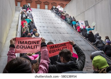 The Women's march on Washington DC - January 21, 2017:  A human river comes out of the Judiciary Square Metro Station in Washington DC to join the Women's March.