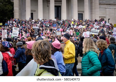 The Women's march on Washington DC - January 21, 2017: huge crowds march on the streets of Washington DC in support of women's rights and in reaction to the 2016 election results.