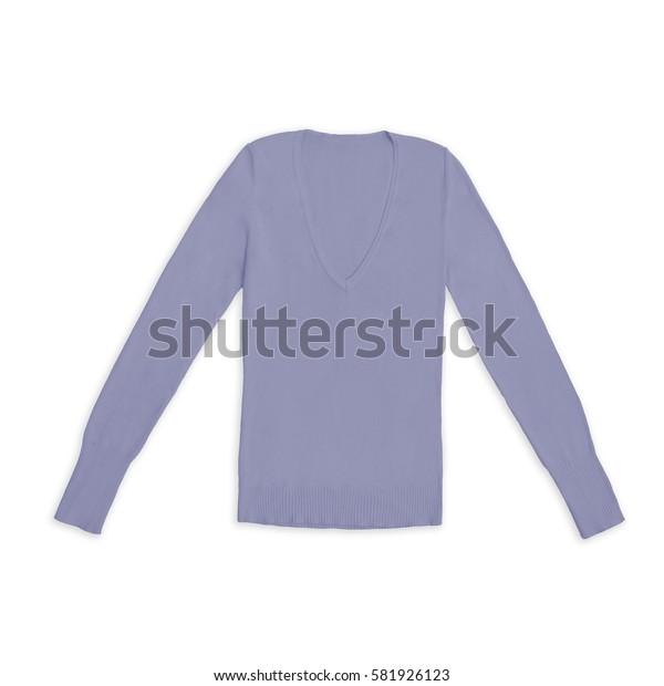 women's mauve v-neck pullover, isolated on white