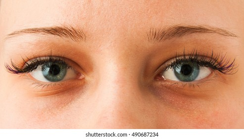 Women's Open eyes from close up