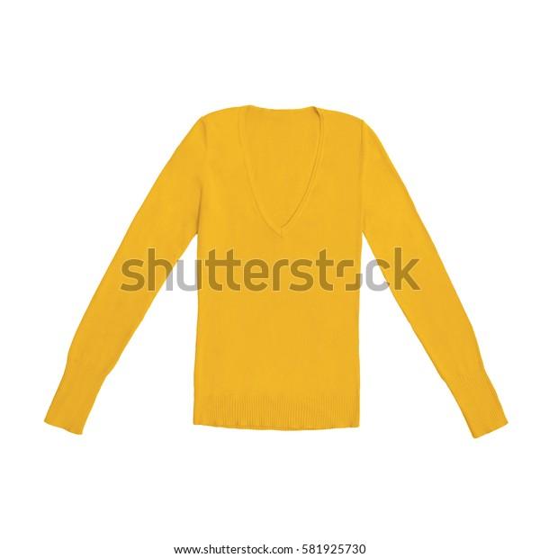 women's orange v-neck pullover, isolated on white