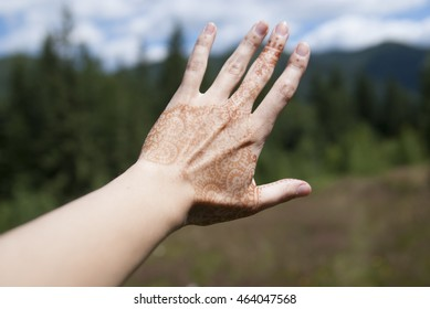 Women's outstretched hand on a background of forest and mountains