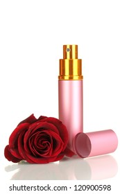 Women's perfume in beautiful bottle with rose isolated on white