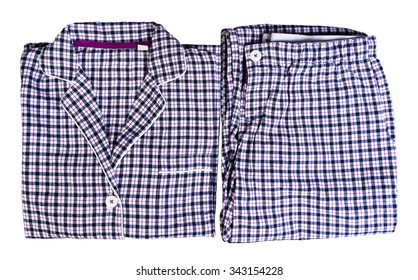 Women's plaid pajamas white, blue, pink pants and shirt isolated on white, top view