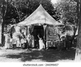 Women's Political Union campaigning in the summer of 1914 for passage of New York State women's suffrage amendment. They offered free baby-sitting to fairgoers at Suffolk County Fair on Long Island.