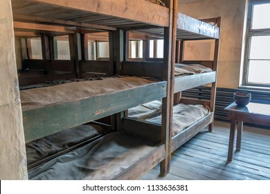 Women's Prisoners beds, bunks inside barrack in Auschwitz I, Nazi concentration camp built and operated by the Third Reich in Poland