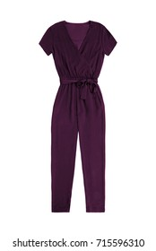 women's purple jumpsuit overall, isolated on white background
