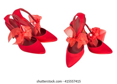 women's red shoes isolated on white background