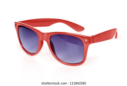 Women's red sunglasses isolated on white