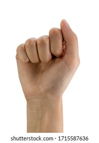 Women's right hand fist isolated on a white background with clipping path