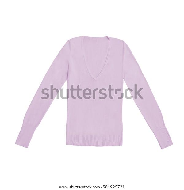 women's rose v-neck pullover, isolated on white
