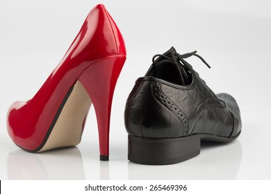 women's shoes and men's shoes, symbolfot for partnership and equality