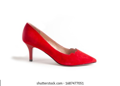 women's shoes on a white background isolated. Copy space text.