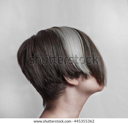 Womens Short Asymmetric Haircut Long Bangs Stock Photo Edit Now