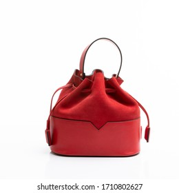 Women's stylish leather bag on a white background