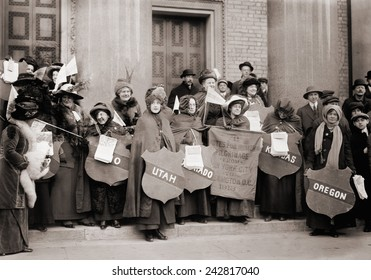 Women's Suffrage hikers who took part in the walk from New York City to Washington, D.C. to join the National American Woman Suffrage Association parade of March 3, 1913.