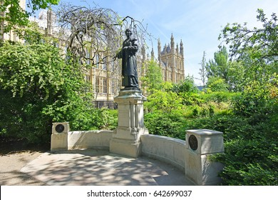 Womens Suffrage Memorial London U.K. - May 13, 2017 -Women's Suffrage Memorial to Dame Christabel and Mrs. Emmeline Pankhurst leaders of The Militant Suffrage Campaign in England and Great Britain.