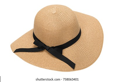 Womens summer yellow straw hat with the ribbon, isolated on white background.