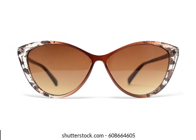 women's sunglasses with brown glass isolated