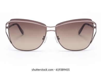 women's sunglasses with brown glass isolated on white