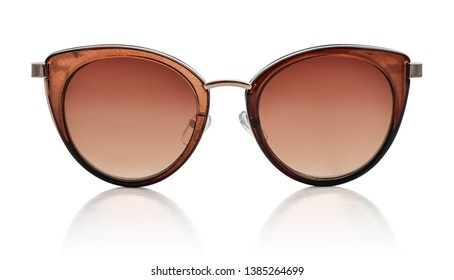 Women's sunglasses with brown lenses isolated on white background, clipping path included