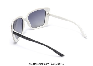 women's sunglasses in a wide plastic frame isolated on white