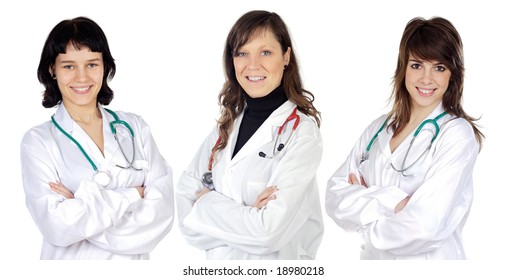 Women's team doctors on a white background
