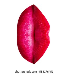 Women's vagina or labia sexy concept from female lips with make-up. Lips with red or pink lipstick related to sensual female sex organs