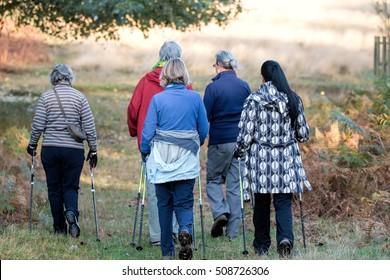Women's walking group on hike through park.
