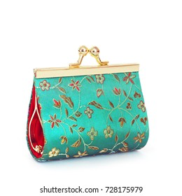 Women's wallet. Coin purse. Embroidered patterns. Wallet on white background