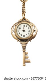 Women's watches, pendant in the form of a key on a chain isolated on white background