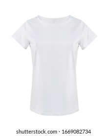 Women's white t shirt isolated on white.Casual lady's clean shirt empty copy space,blank design.