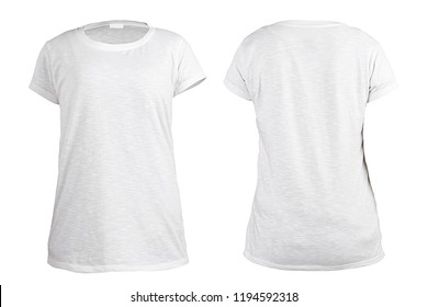Women's white t-shirt, front and back rear view template. Blank shirt mock up for print design. Isolated on white