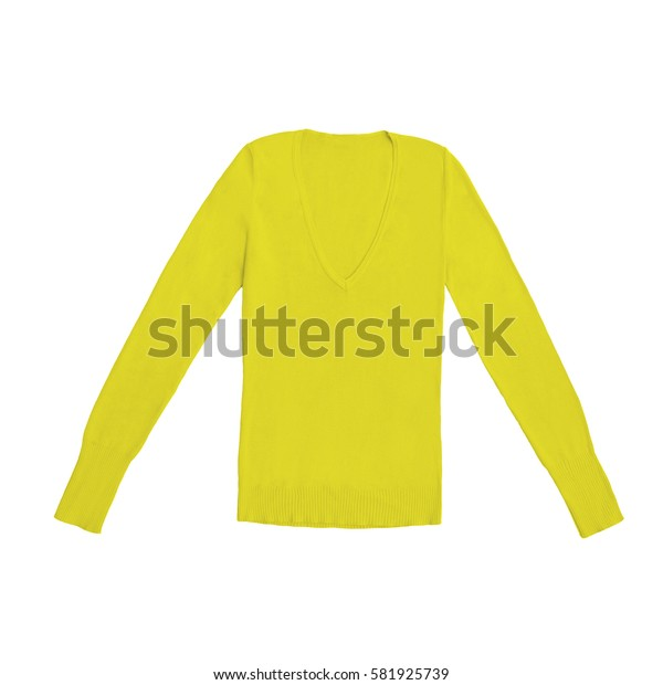women's yellow v-neck pullover, isolated on white