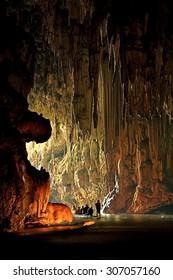 Wondelful limestone cave Tarn Lod Yai at Mae Hong Son, Thailand. Stalactite in Tarn Lod Yai cavern.