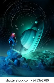 Wonder Exploration. A futuristic human exploring a strange planet system. 3D illustration.