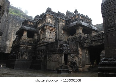 The wonder of Kailasa of Ellora caves, the rock-cut monolithic temple. Taken in India, August 2018.