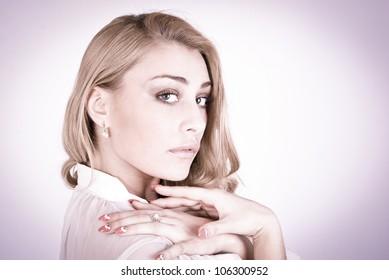 Wonder portrait of a beautiful romantic woman