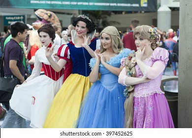WONDERCON: Los Angeles Convention Center, March 25 thru 27, 2016. Cosplayers and fans come out for the annual WonderCon comic and entertainment convention in Los Angeles. Disney Princesses.