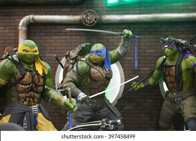 WONDERCON: Los Angeles Convention Center, March 25 thru 27, 2016. The Teenage Mutant Ninja Turtles character statues at their booth promoting their new film at Wondercon.