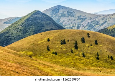 Wonderful Abruzzo Landscape in Campo Imperatore, beautiful hills on the High Mountain in summer Time