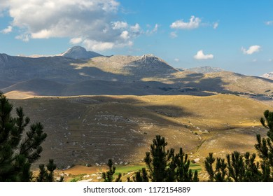 Wonderful Abruzzo Landscape in Campo Imperatore, Gran Sasso Mountains, beautiful hills on the High Mountain in summer Time