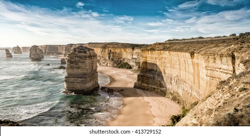 Wonderful aerial view of 12 Apostles in Victoria, Australia.