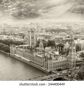 Wonderful aerial view of Big Ben and Houses of Parliament in Westminster - London - UK.