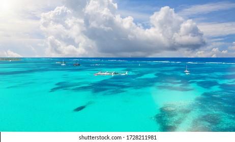 wonderful aerial view of the Caribbean Sea, Punta Cana, Dominican Republic