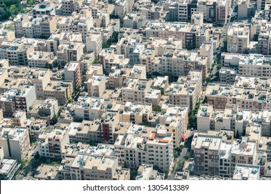 Wonderful aerial view of streets and residential buildings in Tehran, Iran. Tehran is a popular tourist destination of the Middle East.