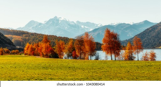 Wonderful Alpine Landscape in Sunny day. Colorful Autumn scene.