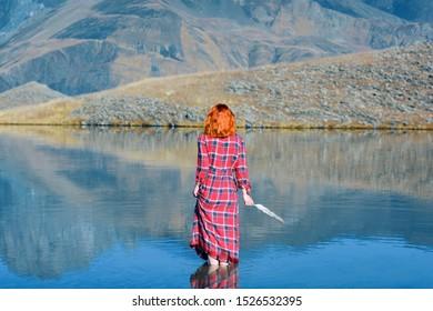 Wonderful and amazing Nature in Gudamakari mountains. Gorgeous Sakore range and alpine lake.